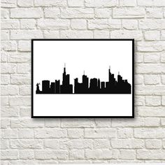 New York Skyline Silhouettes Instant Download Wall Art Home Decor DNGT044