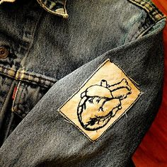 Embroidered Vintage Graphic Heart Upcycled Canvas Jacket Patch by Authenticembroidery on Etsy
