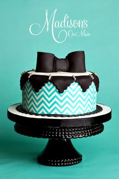 """another pinner said, """"Chevron bowtie themed baby shower cake for a little boy to be! I really loved making this one. So sweet."""" Seriously so cute."""