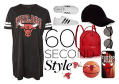 """Basketball Game"" by daisymogr ❤ liked on Polyvore featuring Unk, adidas, Illesteva, Cufflinks, Inc., tshirtdresses and 60secondstyle"
