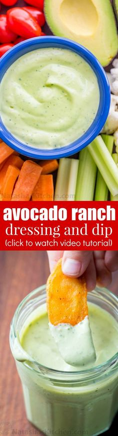 Love ranch dressing? You'll flip for this avocado ranch dressing and dip. So creamy with amazing flavor! Perfect as avocado ranch dip or salad dressing! | natashaskitchen.com #avocadoranchdip #avocadoranch #avocadoranchdressing #easydip #easydressing #homemadedressing Avocado Ranch Dressing, Ranch Dip, Low Carb Recipes, Cooking Recipes, Avocado Recipes, Avocado Dip, Sauce Recipes, Dip Recipes, Soup And Salad