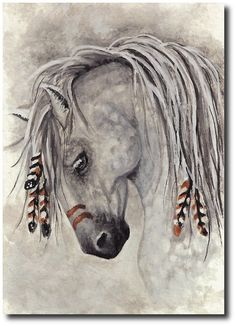 5x7 Majestic Mustang Western Native War Paint Dapple Grey Horse - Print by AmyLyn Bihrle
