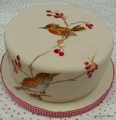 Autumn Birds by neviepiecakes fondant cupcakes painted white red green blue orange ivory beige brown chocolate birds yellow