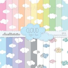 Cloud digital paperseamlessCloud   Etsy Simple Collage, Leaf Clipart, Rainbow Background, Graphic Patterns, Embroidery Files, Collage Sheet, Paper Design, Textures Patterns, Spring Flowers