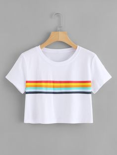 Colorful Striped Crop TeeFor Women-romwe - Cropped - Ideas of Cropped - Colorful Striped Crop TeeFor Women-romwe Girls Fashion Clothes, Teen Fashion Outfits, Outfits For Teens, Shirts For Teens, Cute Comfy Outfits, Pretty Outfits, Cool Outfits, Mode Kawaii, Crop Top Outfits