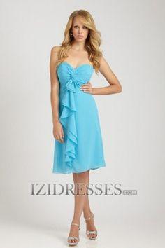 60d1f106bf A-Line Princess Strapless Sweetheart Knee-length Chiffon Bridesmaid Dress