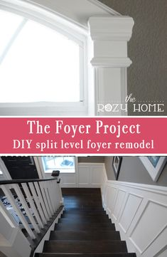 Split level foyer remodel - From outdoor carpet on stairs and plain windows to trimmed out beauty | The Rozy Home