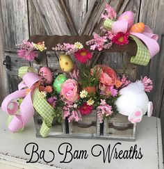 Easter Arrangement, Easter Centerpiece, Easter Floral, Spring Arrangement, Spring Centerpiece, Spring Floral, Bunny Butt Bunny Butt Garden~ it's so sweet! Where's my carrots? Sweet As Can Be~ Blooming with pops of Spring Colors~ this Easter floral would bring whimsy to your home, office