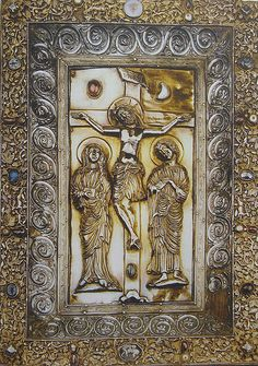 Crucifixion with Sol and Luna as jewels  Book cover from an Evangeliary by Hugo d'Oignies [1228-30]  Museum of Ancient Arts in Namur