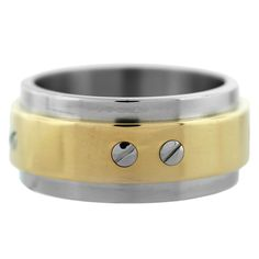 CARTIER Santos 100 Stainless Steel and Yellow Gold Mens Ring