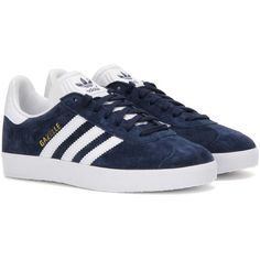 Adidas Originals Gazelle Suede Sneakers (€105) ❤ liked on Polyvore featuring shoes, sneakers, adidas, blue, adidas originals, suede leather shoes, adidas originals trainers, blue shoes and blue suede shoes