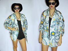 Vintage Oversized Womens Jacket Coat Abstract Print - 1980s Kitsch Retro