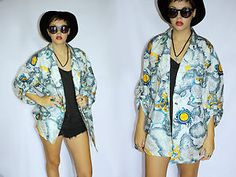 Vintage Oversized Womens Jacket Coat Abstract Print - 1980s Kitsch Retro