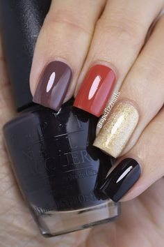 Ive been feeling the skittle manis lately and I have another Fall inspired one to share with you today. Im loving everything Autumn right now, crisp sunny days, the changing leaves, pum Stylish Nails, Trendy Nails, Love Nails, Fun Nails, Gel Nagel Design, Manicure E Pedicure, Super Nails, Nagel Gel, Nails Inspiration