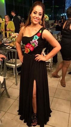 one Shoulder Prom Dress with Appliques , black with side slit prom dress - Katie's quinceanera - makeupwerkzeug Mexican Theme Dresses, Mexican Outfit, Mexican Bridesmaid Dresses, Quince Dresses, 15 Dresses, Wedding Dresses, Mexican Themed Weddings, One Shoulder Prom Dress, Mexican Fashion