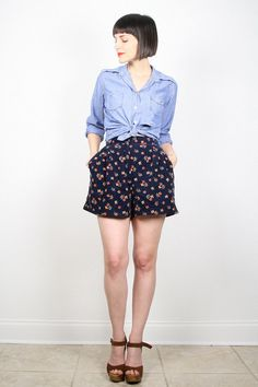 Vintage Navy Blue Shorts High Waisted Shorts by ShopTwitchVintage