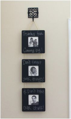 Hanging Chalkboard Frame - 20 Cleverly Creative Ways to Display Your Cherished Photos