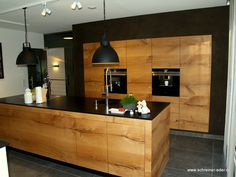 Solid wood kitchen made of Danube oak with transversely continuous front, natural stone worktop. Made by the carpenter Hermann Eder. Small Space Interior Design, Kitchen Remodel, Modern Kitchen, Solid Wood Kitchens, Open Plan Kitchen, Wood Kitchen, Home Interior Design, Kitchen With Big Island, Kitchen Design