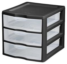 Sterilite 20739006 Small 3 Drawer Unit Black Frame with Clear Drawers 6Pack -- AMAZON Great Sale