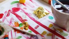Glitter and watercolours. DIY wrapping paper