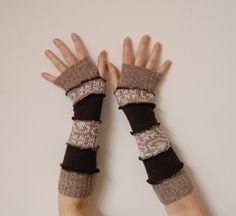 Arm Warmers Made From Upcycled Sweaters Man Teens Eco Friendly Funky Style Winter Fashion Upcycled Clothing. $25.00, via Etsy.