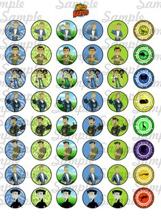 Wild Kratts (48) - 1 Inch Bottle Cap Images - StickersDigital Collage Sheet - INSTANT DOWNLOAD         May 06, 2014 at 12:55AM