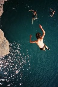 CLIFF JUMPING. Love doing this in Bosnia. Trust me- the cliffs there are AMAZING to jump off of. #yolo #adventure
