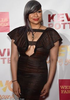 Sleek new 'do: On Monday Raven opted for a revealing dress with a plunging neckline and a sophisticated hair style with smoothed grey tresses and purple low lights Raven Symone, The Cheetah Girls, Sophisticated Hairstyles, Lab, Black Women Art, Celebs, Celebrities, Red Carpet Fashion, New Look