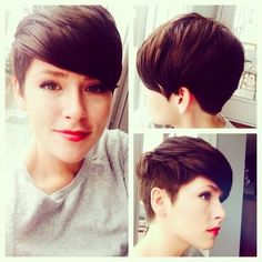 Chic Shaved pixie hairstyles: Short Haircuts side and Back View The back of the pixie hairstyle is tapered into the neck with uniform layers cut up to the top and front that blends in charmingly with the bangs wispy cut to contour the top of the face for a cool finish.The short hairstyle create an edgy look and can flatter many face shapes. - See more at: http://pophaircuts.com/chic-pixie-haircuts-ideas#sthash.YeYZJozB.dpuf: