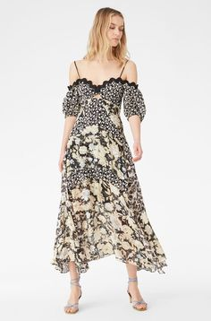 With an off-the-shoulder top featuring an eyelet that's an open, modern take on embroidery with a vine-like design, this sweeping, midi-length dress is printed with a mix of our Gold Leaf Fleur and Kaleidoscope prints. V Neck Dress, Lace Dress, Twin Outfits, Dress Images, Rebecca Taylor, Mixing Prints, Spring Dresses, Fashion 2020, Casual Looks