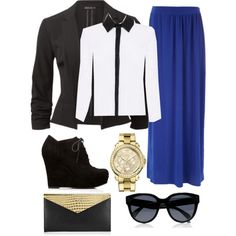 """Apostolic Outfit"" Royal Blue Maxi Skirt / Blazer / Wedge Booties / Gold Watch / Black and Gold Clutch"