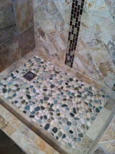 Glazed Sea Green and White Pebble Tile - Subway Tile Outlet