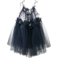 Molly Goddard  Oksana sleeveless tulle dress ($1,240) ❤ liked on Polyvore featuring dresses, tops, blue, ruched cocktail dress, tulle cocktail dresses, spaghetti strap dress, ruffle cocktail dress and blue ruffle dress