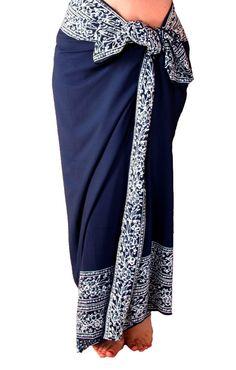 Beach Sarong  Mens or Womens Clothing - Navy Blue Sarong Pareo Wrap Batik Sarong in Regular and PLUS SIZES by PuaWear on Etsy