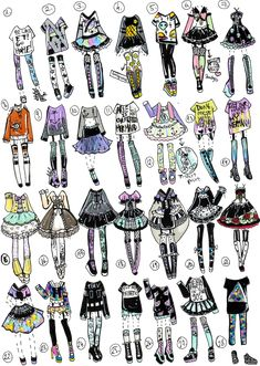 Finally I had time to do another 28 pack pastel goth/grunge themed outfits!I am excited as always NO: Payment plans,HOLDS (send payme. Fashion Design Drawings, Fashion Sketches, Art Sketches, Clothing Sketches, Themed Outfits, Drawing Clothes, Anime Outfits, Character Outfits, Cute Drawings