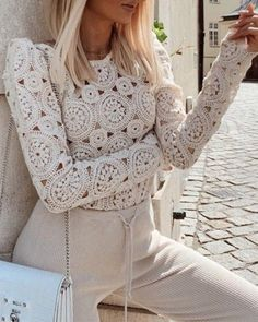 Shop Hollow Out Lace Puffed Sleeve Casual Blouse right now, get great deals at Divasruby Fashion Mode, Fashion Outfits, Fashion Hacks, Petite Fashion, Style Fashion, Womens Fashion, Fashion Tips, Casual Tops For Women, Crochet Fashion