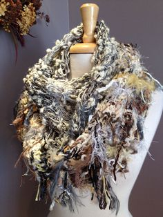 Reserved for Mickey - Peacock Knit Infinity Scarf - Dumpster Diva Fringed 'round' Scarf or cowl in light neutrals by rockpaperscissorsetc on Etsy, $45.00