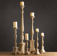 Florentine Carved Wood Candlesticks Natural | Candlelight & Scent | Restoration Hardware