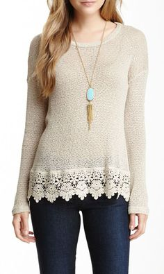 I should try to add crochet detail to sweaters that are too short.