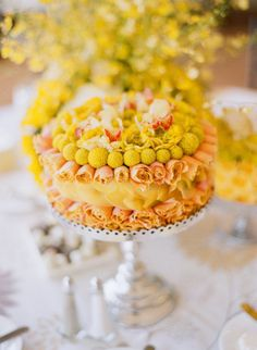 Flower Cake -- how fun would this be as a centerpiece?