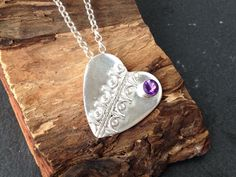 Sterling silver handmade heart necklace with a amethyst gem stone, hallmarked in Edinburgh by silvermeadows on Etsy
