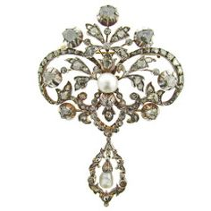 Early Natural Pearl Rose Cut Diamond Brooch