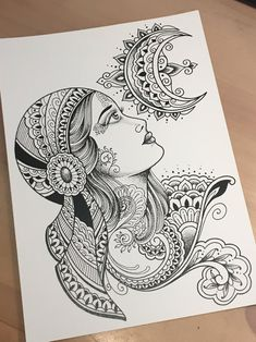 Black and White Tattoo Gypsy Girl Art Print - Limited edition signed print of a Gypsy Girl and Cresent moon in Dominique Holmes signature hand-dr - Easy Mandala Drawing, Mandala Art Lesson, Mandala Artwork, Doodle Art Drawing, Zentangle Drawings, Gypsy Drawing, Art Drawings Sketches Simple, Unique Drawings, Girly Drawings