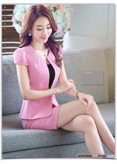 2016 estilo coreano mujeres delgadas de la oficina de la falda del desgaste formal de manga corta chaqueta de retazos falda más el tamaño 3XL uniforme en Trajes con Falda de Moda y Complementos Mujer en AliExpress.com | Alibaba Group