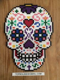 Sugar skull, Hama beads, Perler beads, Pixel art