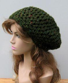 New to PurpleSageDesignz on Etsy: Loden green Slouchy Beanie Dreadlock Hippie small tam hat (19.00 USD)