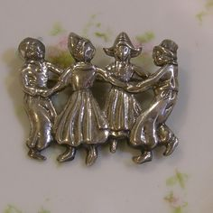 Vintage Sterling Silver Brooch - Dancing Dutch Children by Vintageartshome on Etsy