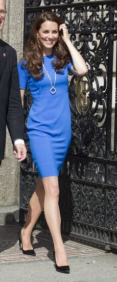 Kate Middleton: Kate wore this blue Stella McCartney dress ($885) with a long circle necklace and black pumps in London.