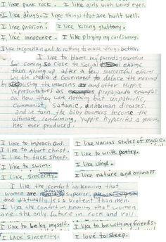 "A few of Kurt Cobain's ""likes"" - makes me wanna do something similar"