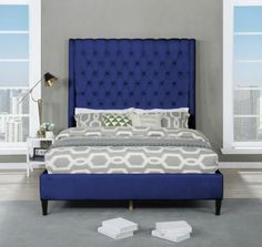 """Best Master B1930-BL Red barrel studio linnetta blue velvet fabric diamond tufted queen bed set. Queen bed measures 66"""" x 89"""" x 71"""" H. Some assembly required. Also available in Cal king and Eastern King at additional cost."""
